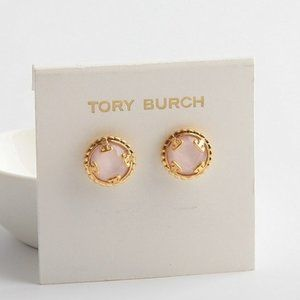 Tory Burch Simple Pink Crystal Small Earrings